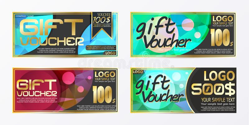 Gift certificate voucher coupon card background template. Eps.10 eps.10 stock illustration