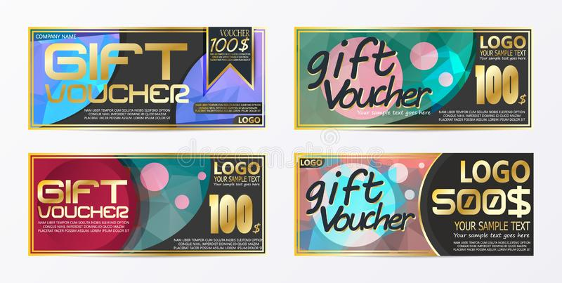 Gift certificate voucher coupon card background template. Eps.10 vector illustration