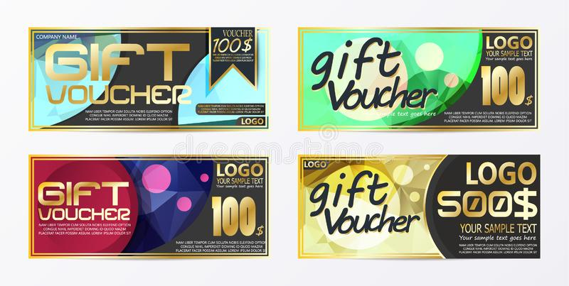 Gift certificate voucher coupon card background template. Vector illustration stock illustration