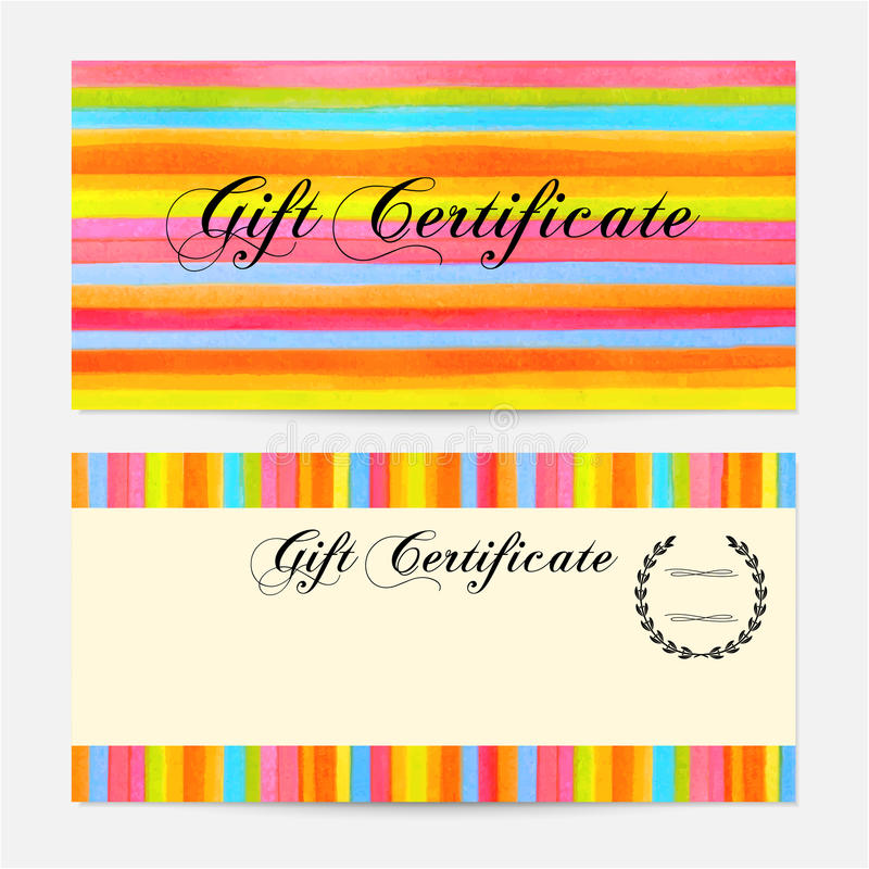 Gift certificate, Voucher, Coupon, Gift money bonus, Gift card template with colorful stripy (stripes, line pattern) background. Vector watercolor with rainbow royalty free illustration