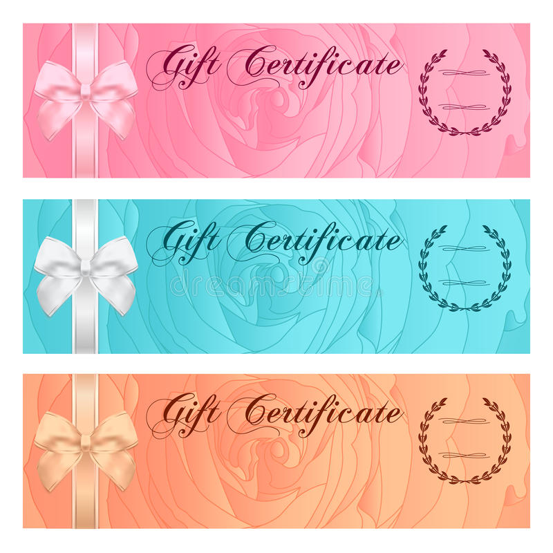 Gift certificate, Voucher, Coupon, Reward or Gift card template with floral rose pattern, bow (ribbon). Rose flower background set vector illustration