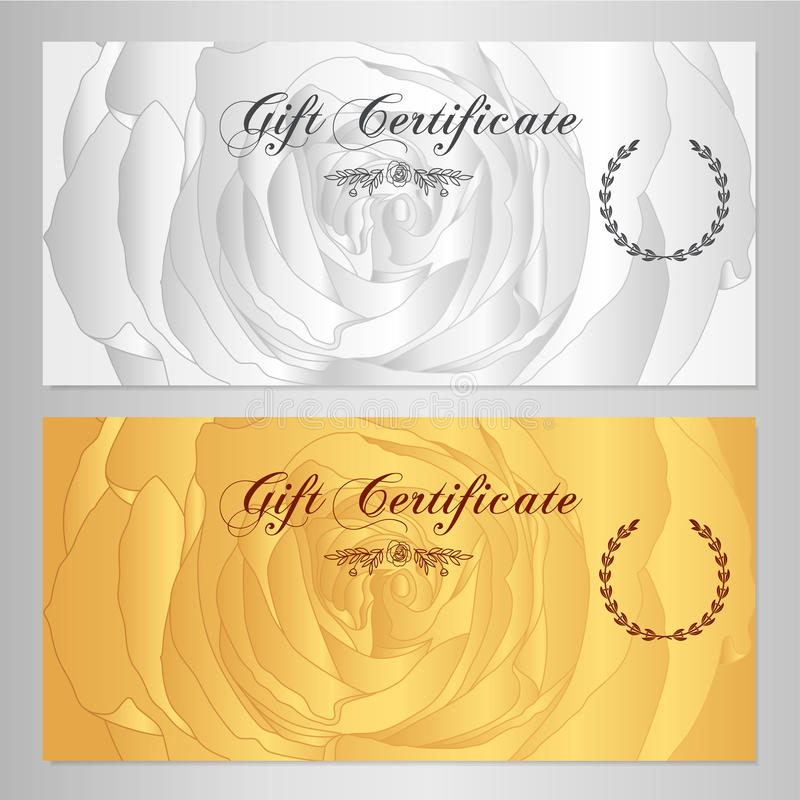 Gift certificate, Voucher, Coupon, Reward / Gift card template with rose (flowers pattern). Set of floral feminine background vector illustration