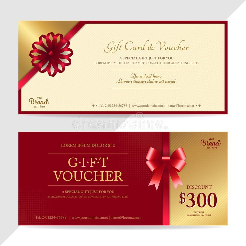 Free Gift Certificate, Voucher, Gift Card Or Cash Coupon Template In Stock Photo - 107669840