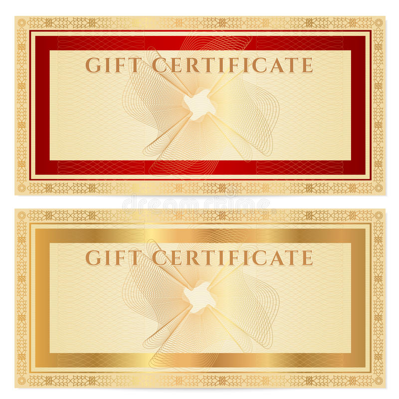 Gift certificate (voucher) template with borders stock illustration
