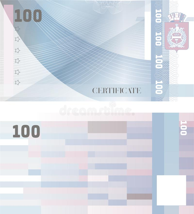 Gift certificate Voucher template 100 with guilloche pattern watermarks and border. Background usable for coupon, banknote, money royalty free illustration