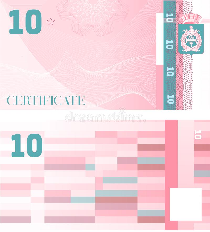 Gift certificate Voucher template 10 with guilloche pattern watermarks and border. Background usable for coupon, banknote, money royalty free illustration