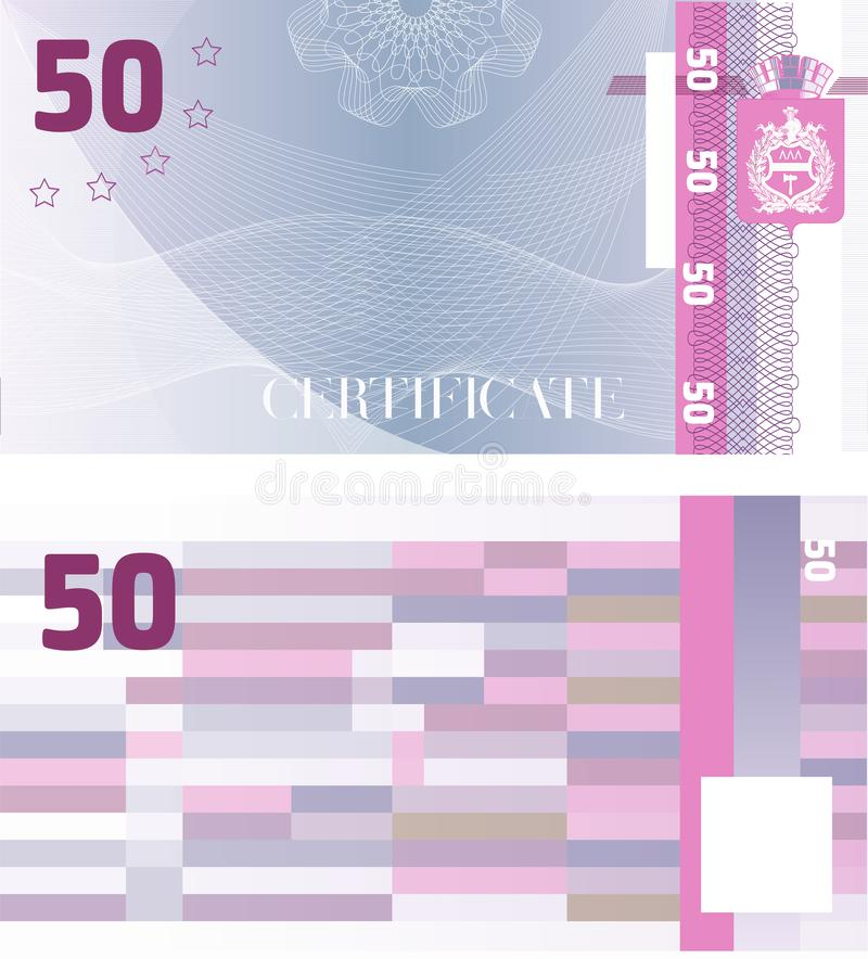 Gift certificate Voucher template 50 with guilloche pattern watermarks and border. Background usable for coupon, banknote, money stock illustration