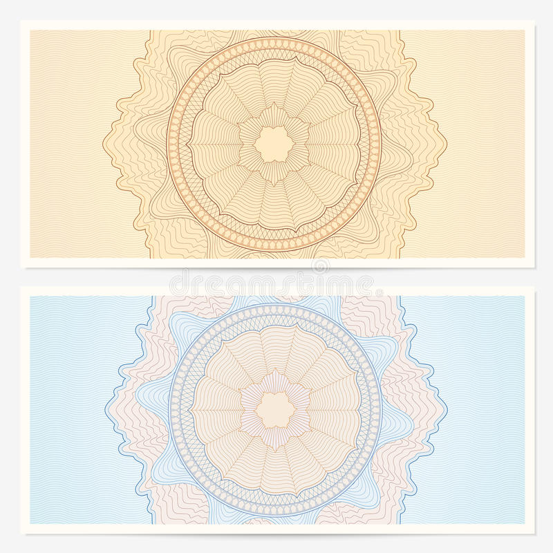 gift certificate  voucher  template with pattern stock illustration