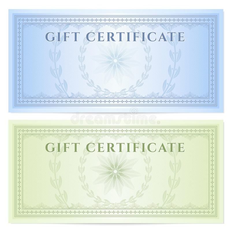 Gift certificate (Voucher) template with pattern royalty free illustration