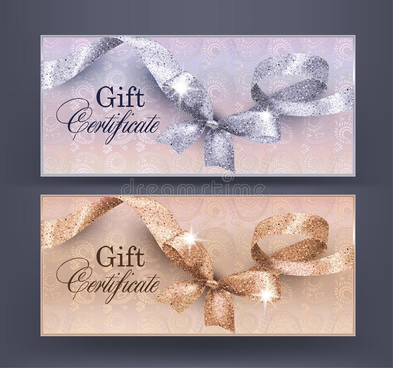 Gift Certificates with floral design background and shiny curly ribbon with bow. royalty free illustration