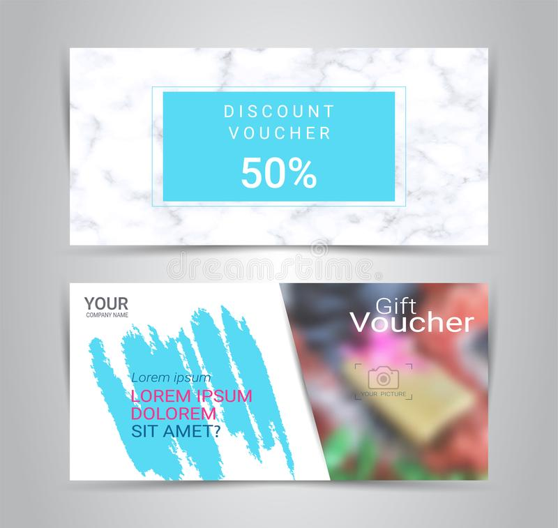 Gift voucher card or banner web template with blurred background. vector illustration