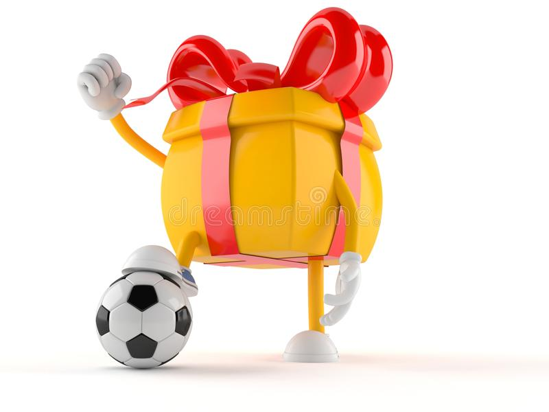 Gift character with soccer ball vector illustration