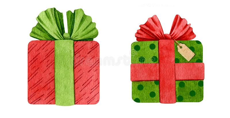 Gift Christmas boxes watercolor illustration. Hand drawn bright green and red decore package with ribbons and bows. Spesial wrap f royalty free illustration
