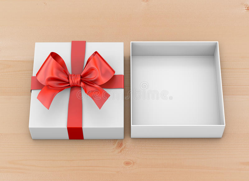 Gift. Christmas, New Year's Day ,Open red gift box top view on table background 3d rendering royalty free illustration