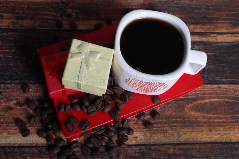 Gift and coffee royalty free stock photography