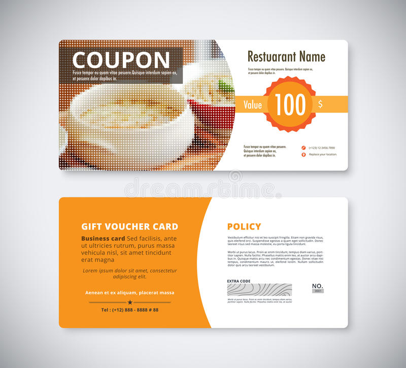 Gift Coupon Voucher Template For Restaurant Flyer Brochure Vect