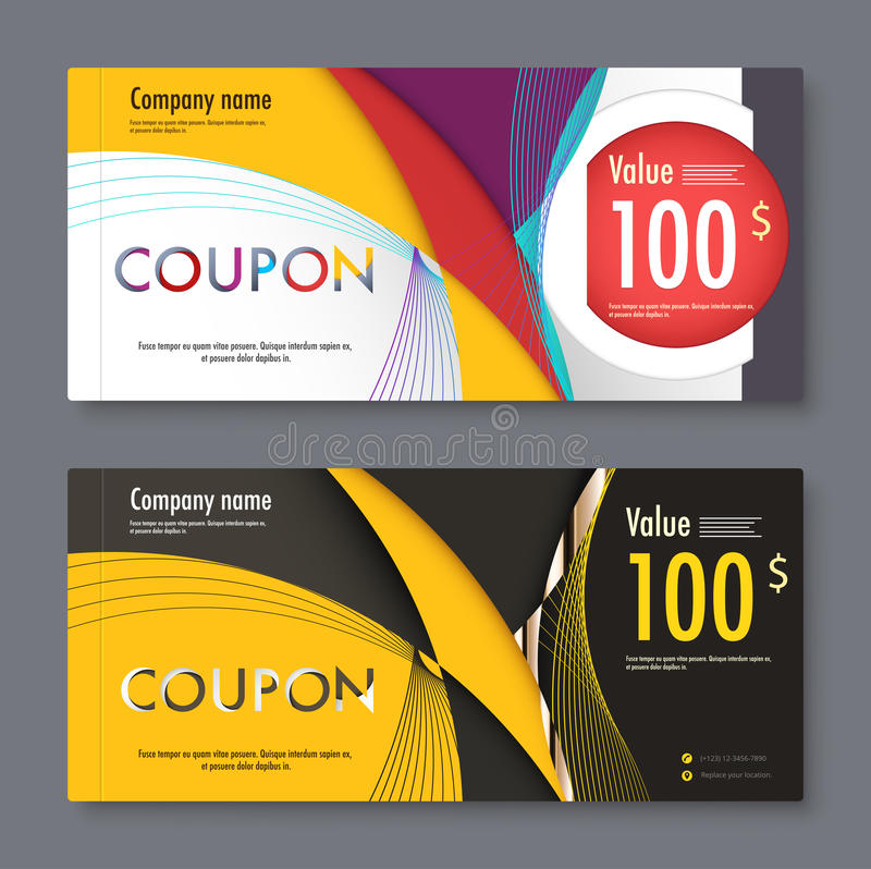 Gift coupon voucher template. vector illustration. stock illustration