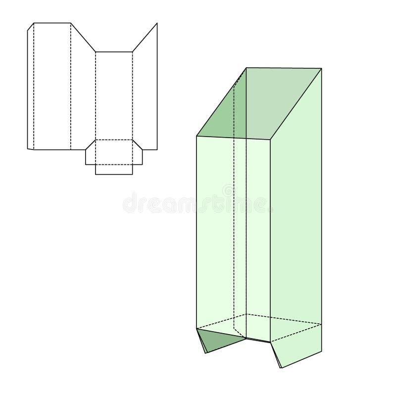 Gift craft Box for Design. Vector Illustration of Gift craft Box for Design, Website, Background, Banner. Folding package vine bottle Template. Fold alhogol pack stock illustration