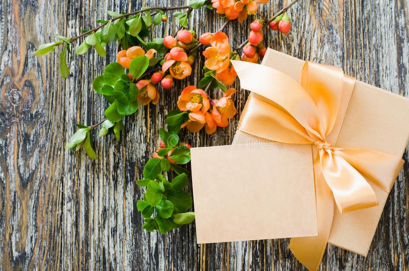 Gift box with bow ribbon, blank tag and delicate flowering branch royalty free stock photo