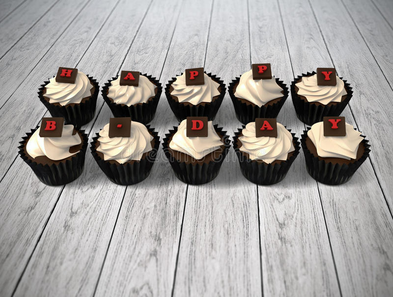 Gift cupcake with blank chalkboard signboard label on bright woo stock images
