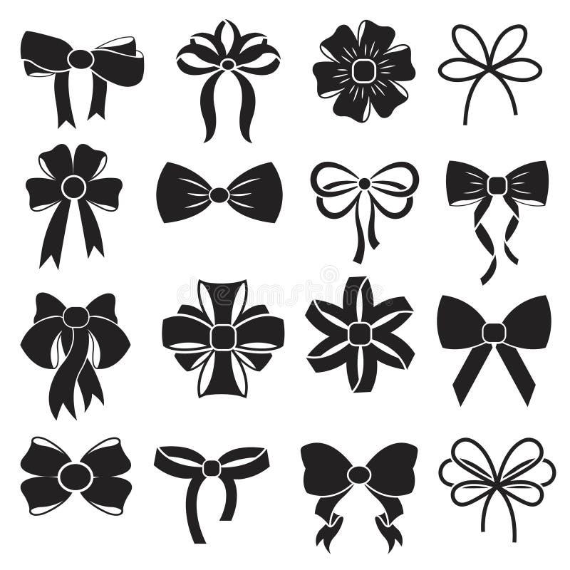 Gift Decorative Ribbon Bow Vector Icons Set Stock Vector