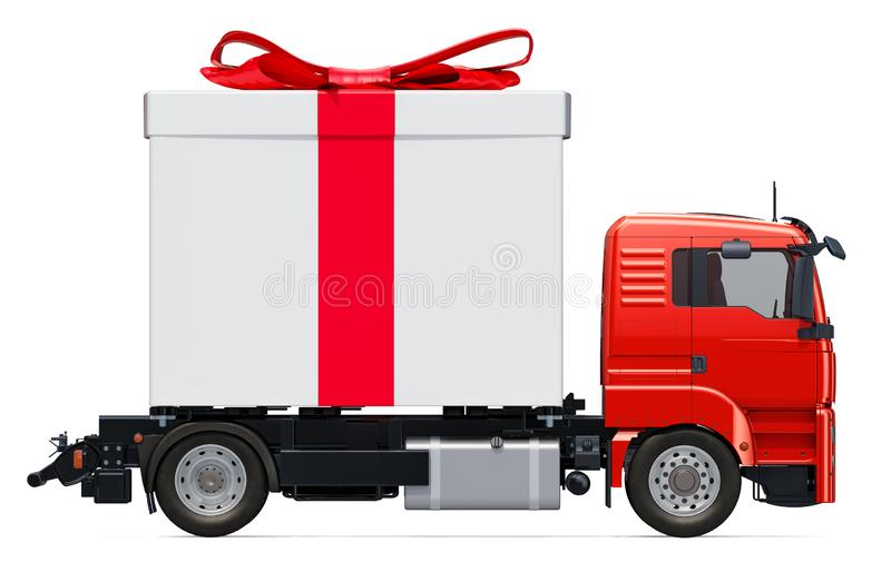 Gift delivery concept. Truck with gift box, 3D rendering vector illustration