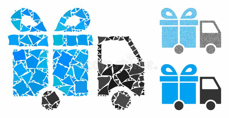 Gift delivery van Composition Icon of Humpy Pieces. Gift delivery van mosaic of inequal parts in different sizes and color tones, based on gift delivery van icon royalty free illustration