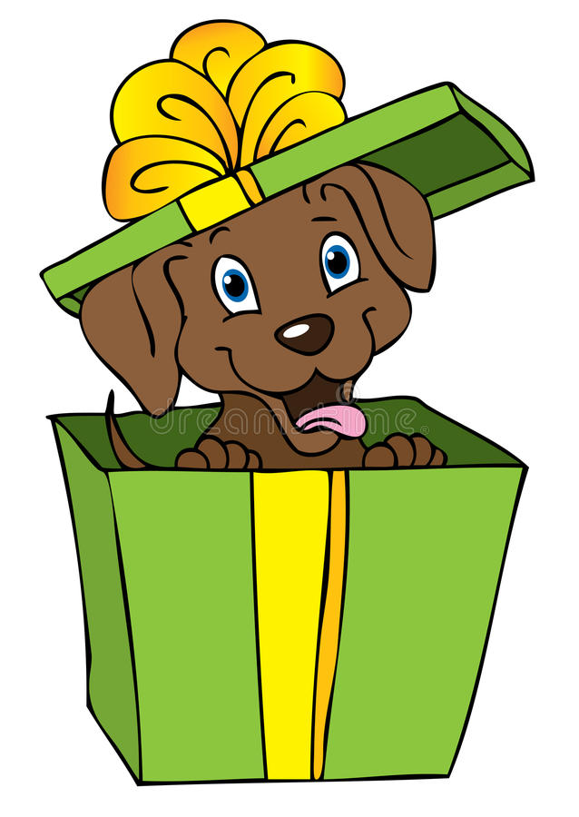 Download Gift dog cartoon stock illustration. Image of brown, isolated - 15136397