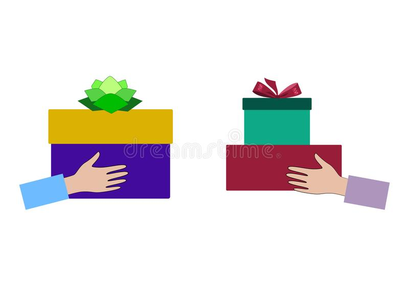 Gift Exchange. Concept Holidays, Celebrations, Present. Gift Exchange. Concept Holidays, Celebrations, Present, Christmas, New Year. Gift Box in Hand. Vector stock illustration