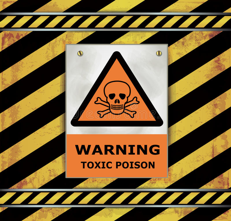 Gift för varning för teckenvarningssvart tavla giftligt stock illustrationer