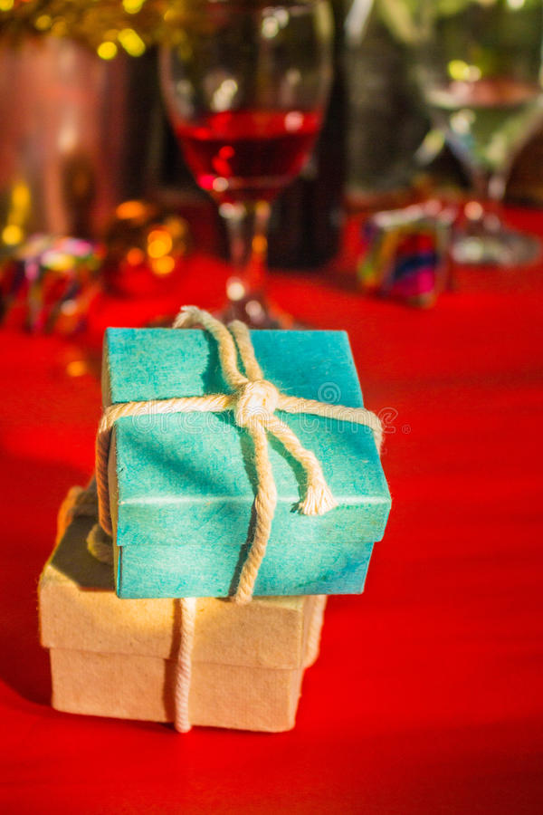 Gift of festival. Gift box on red background stock photo