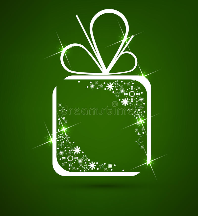 Gift with flakes vector. Format stock illustration
