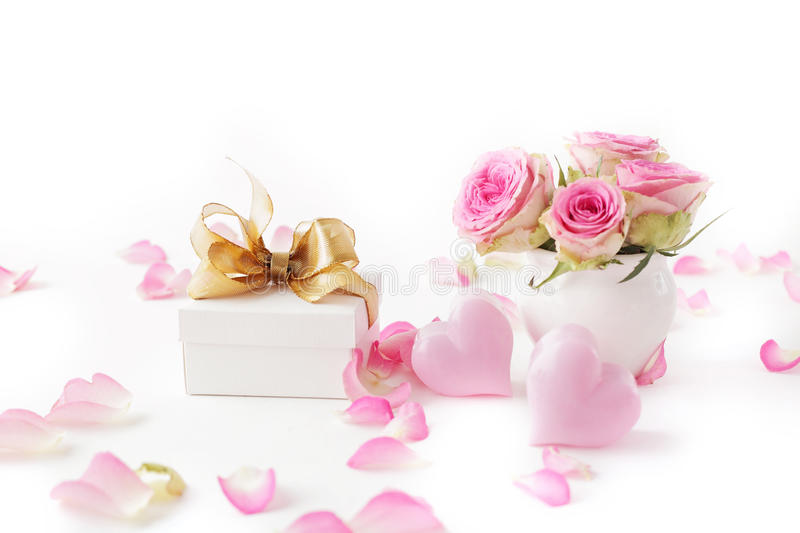 Gift and flowers stock photo
