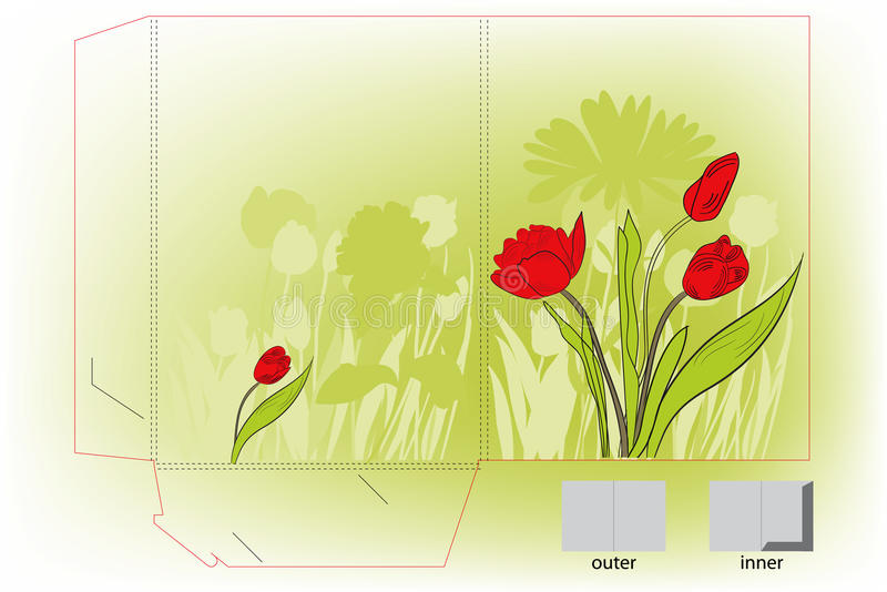 Download Gift Folder With Tulips Flowers Stock Vector - Illustration of bunch, flower: 12574417