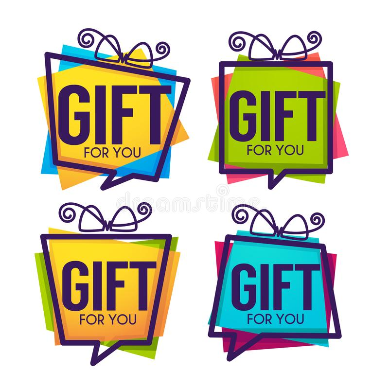 Free Gift For You, Abstract Vector Present Box For Your Congratulation Banner Design And Greeting Cards Looks Like A Speech Bubble Stock Photography - 113538362