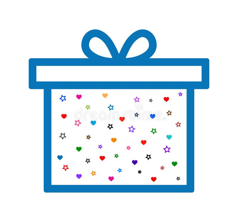 Gift box heart and star line icon. Simple vector filled flat in gift box heart and star line icon solid two color pictogram isolated on white background vector illustration
