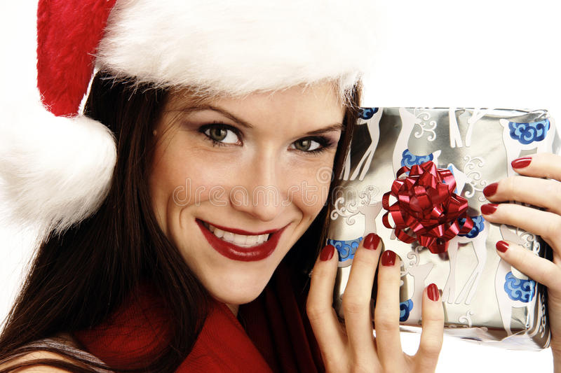 Woman In Santa Cap Holds Present Holiday Gift Give Stock Image