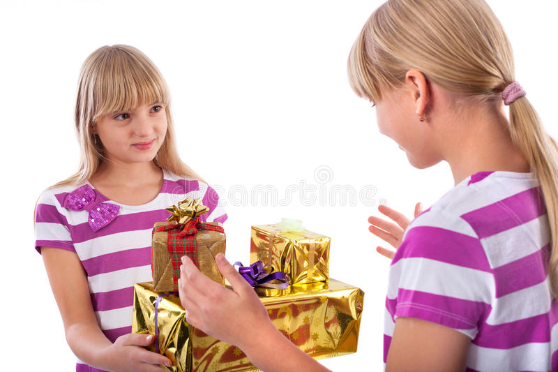 Download Gift giving stock photo. Image of child, girl, xmas, present - 27836556