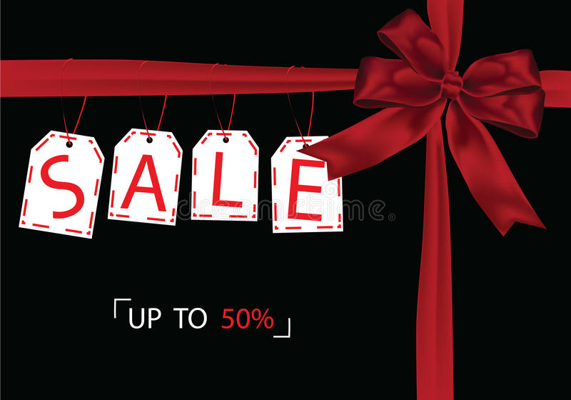 Gift Giving Black Friday sale tag with red ribbon royalty free stock image