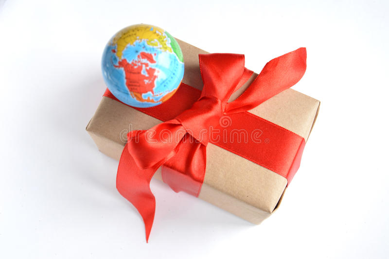 Gift with globe stock image