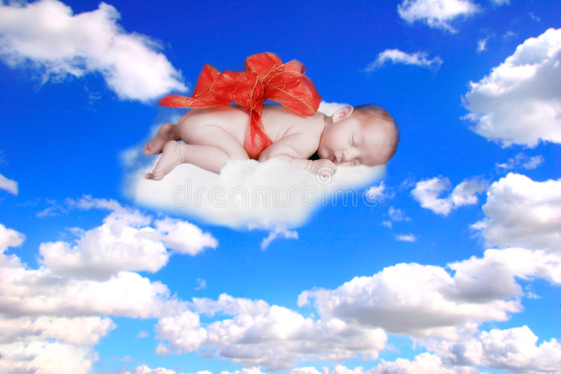 Gift from god fantasy portrait infant with bow in the clouds stock download gift from god fantasy portrait infant with bow in the clouds stock image image negle Image collections