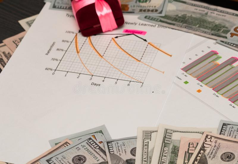 Gift and graphic image of profit. Graphic image of profit stock photography