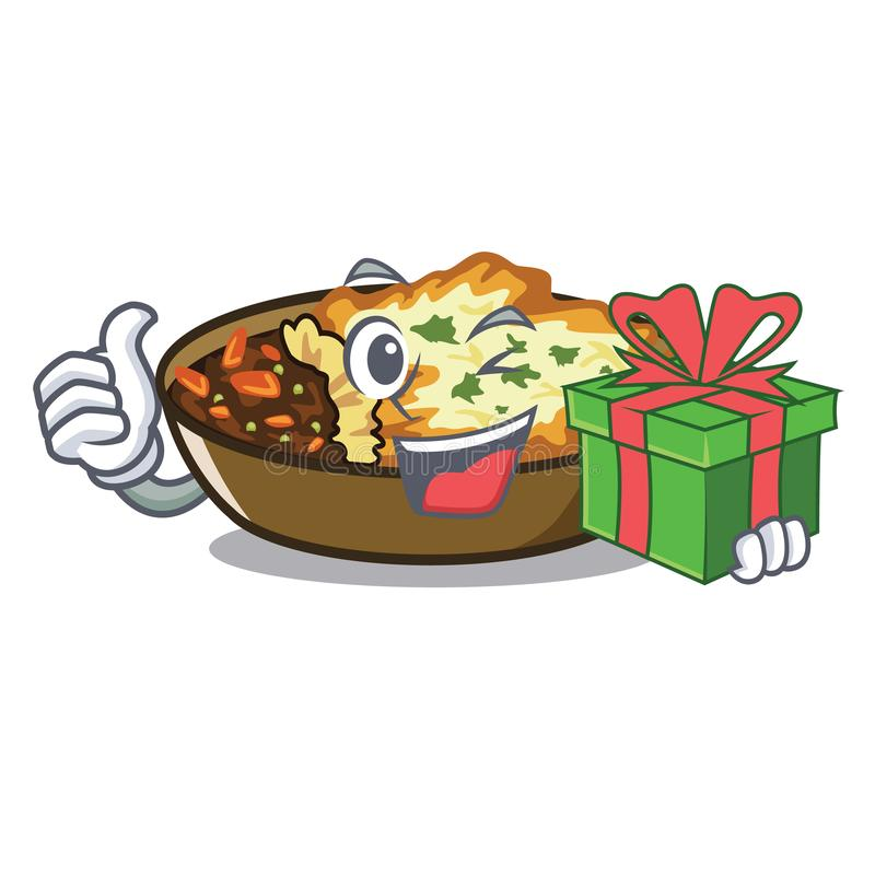 With gift gratin in the a mascot shape. Vector illustration stock illustration