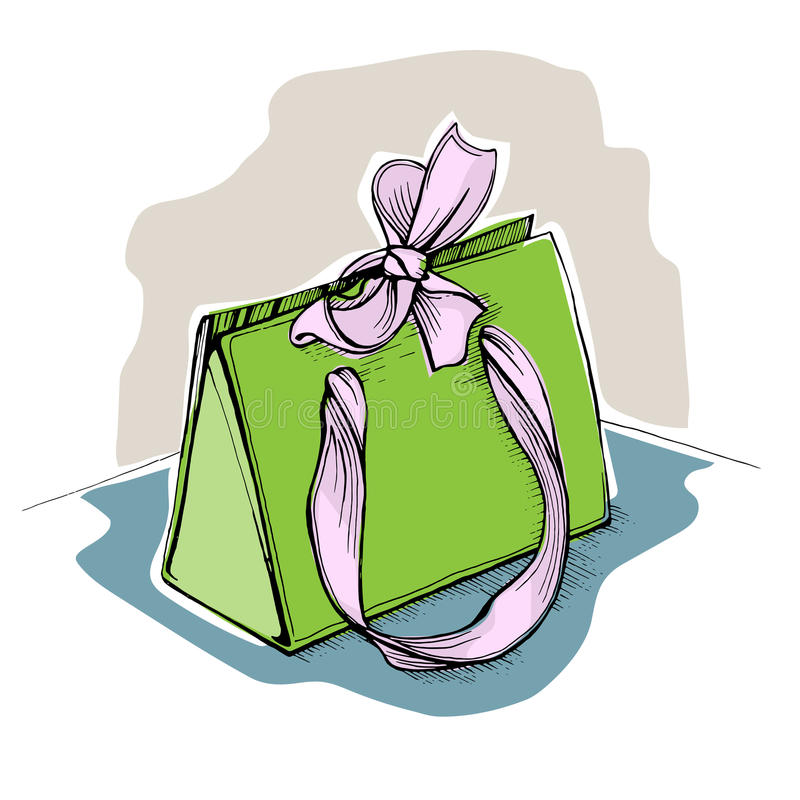 Download Gift Green Shopping Bag With Ribbons And A Pink Bow Stock Vector - Illustration of doodle, fashion: 83722570