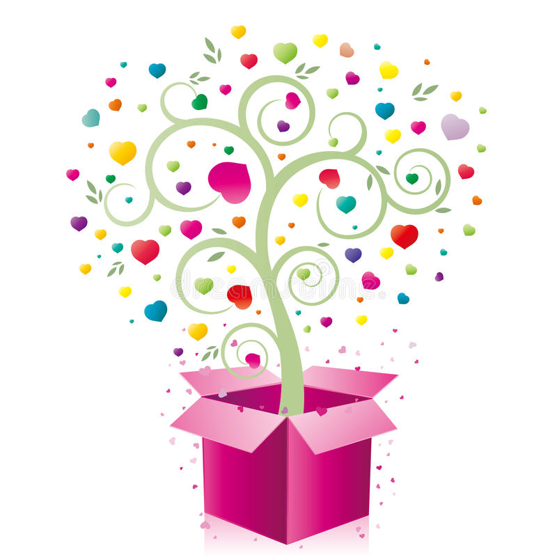 gift and heart royalty free illustration