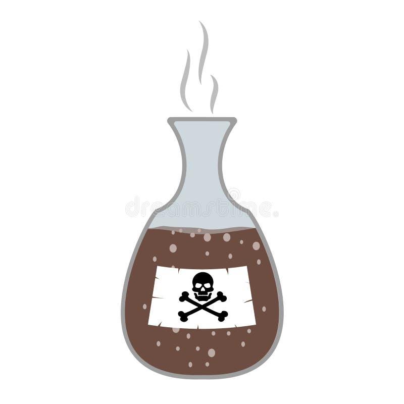 Gift i flaskan, flaska med skallen och ben, tecknad film Giftliga farliga vikter, plan stil Vektor isolerad bakgrund royaltyfri illustrationer