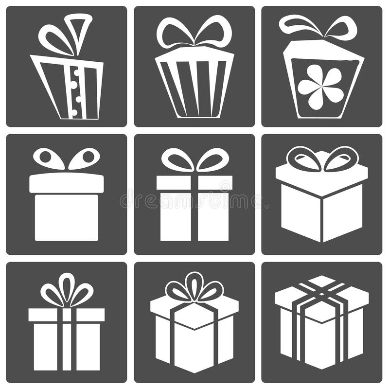 Gift icon set. Gift box icon set different styles. Vector illustration