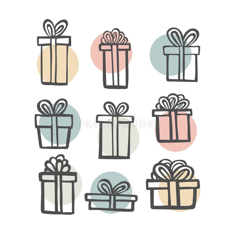 Gift icon set. Color simple present box with ribbon. Hand drawing . Doodle style black ink. different variations. Decorative elements stock illustration
