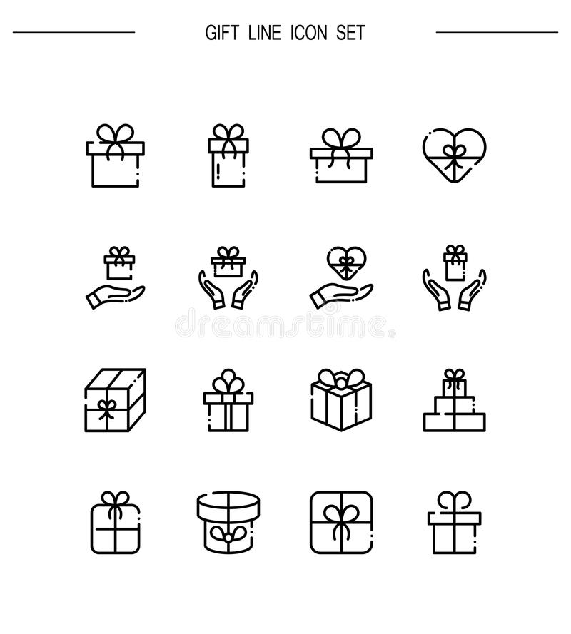 Gift icon set. Gift flat icon set. Collection of high quality outline symbols for web design, mobile app. Gift vector thin line icons or logo stock illustration
