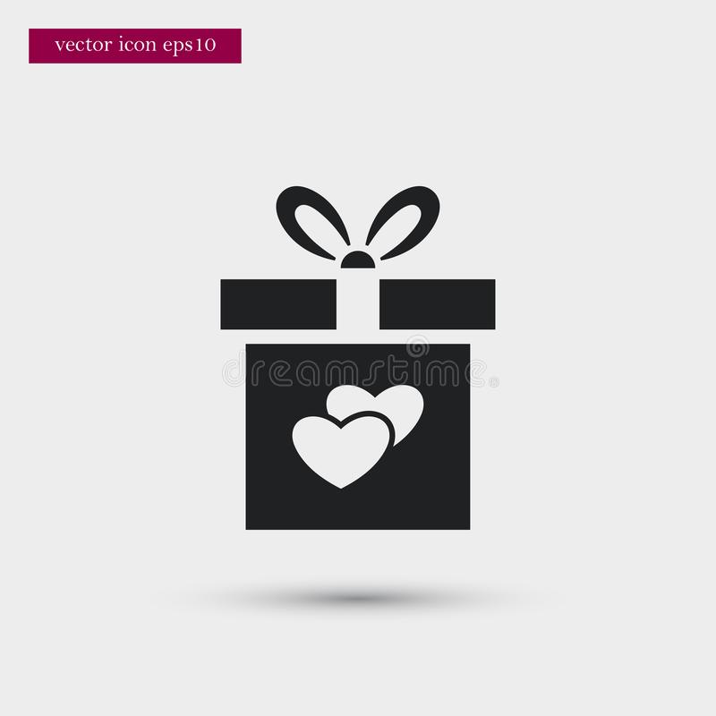 Gift icon. Simple romance element illustration. Valentine symbol design from love collection. Can be used in web and mobile stock illustration